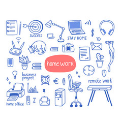 Work from home a set objects vector