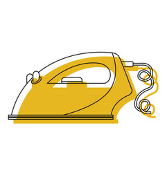 yellow watercolor silhouette of clothing iron icon vector image