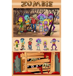 Zombies walking in the forest vector