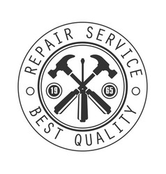 best quality repair and renovation service black vector image vector image