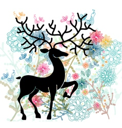 Card with deer vector