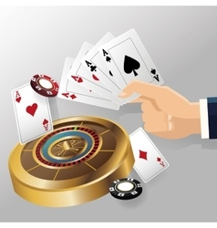 cards of poker roulette and chips design vector image