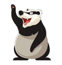 cartoon smiling badger vector image vector image