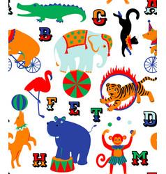 circus cartoon animals vector image