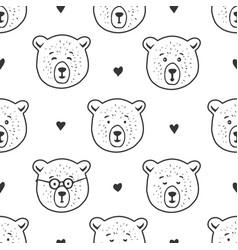 cute bear seamless pattern hand drawn vector image vector image