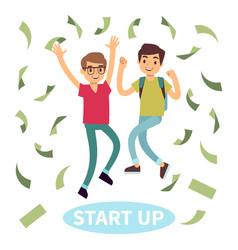 happy successful students in money rain start up vector image vector image