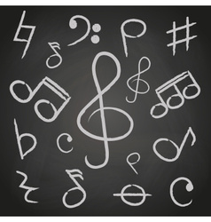 music note icons on black board eps10 vector image vector image