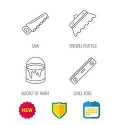 trowel for tile saw and level measure icons vector image vector image