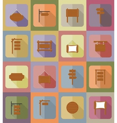 wooden board flat icons 20 vector image vector image