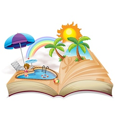 A book with an image of a pool vector image vector image