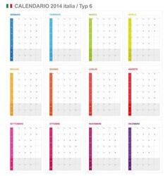 Calendar 2014 Italy Type 6 vector image vector image