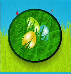 easter border with eggs grass and butterfly vector image vector image