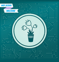 flower icon on a green background with arrows in vector image