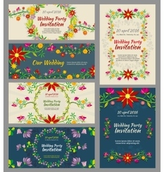 Invitation wedding cards with floral elements and vector image