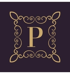 Monogram letter P Calligraphic ornament Gold vector image vector image