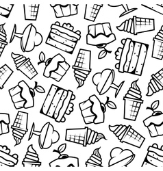 Seamless cakes and ice cream pattern vector image