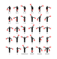semaphore flag signals alphabet and numbers vector image