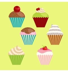 set of cartoon-style cute muffins vector image vector image