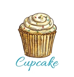 Cupcake isolated sketch with cream and sprinkles vector image vector image