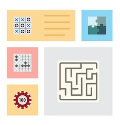flat icon games set of poker gomoku jigsaw and vector image vector image