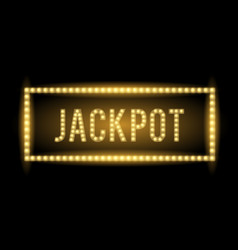 jackpot text title with electric bulbs and frame vector image vector image