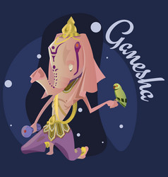 Lord ganesha indian god meditate in space vector