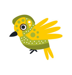 small cute green and yellow bird colorful cartoon vector image vector image