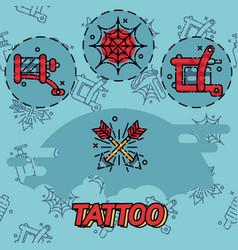 Tattoo flat icons set vector