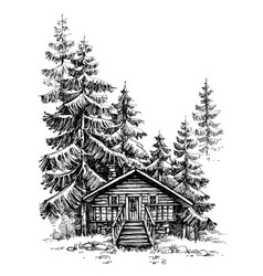 A wooden cabin in the pine forest idyllic winter vector