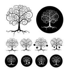 Abstract Black Tree Set vector image vector image