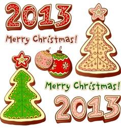 Christmas tree and chocolate honey-cakes vector image