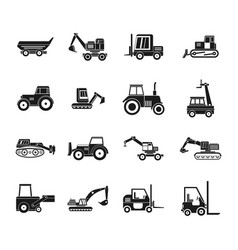 construction vehicle icon set simple style vector image