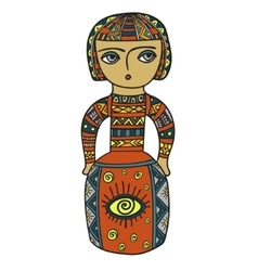 Ethnic statue sculpturedoll with patterns Print vector image
