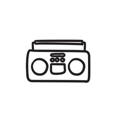 radio cassette player sketch icon vector image vector image