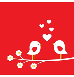 Two cute birds on blooming branch vector image vector image