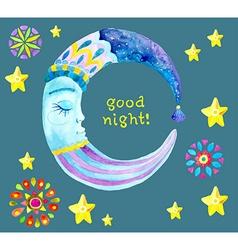Watercolor Moon for children design vector image