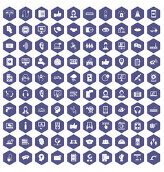 100 call center icons hexagon purple vector