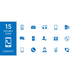 15 contact icons vector image