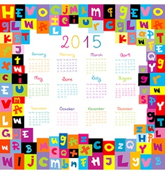 2015 Calendar with letters for schools vector image