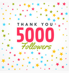 5000 followers success template with colorful vector