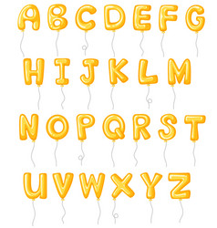 Alphabet design with yellow balloons vector