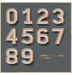 Alphabet number retro color vector image vector image