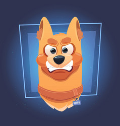 angry dog face on blue background vector image