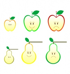 apple and pear icons vector image
