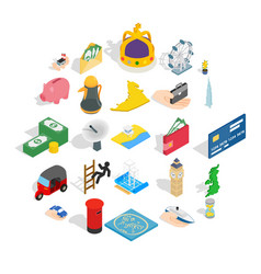 Automation management icons set isometric style vector
