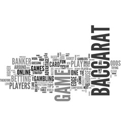 baccarat tips text word cloud concept vector image