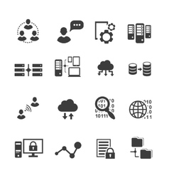Big data icon set data analytics cloud computing vector