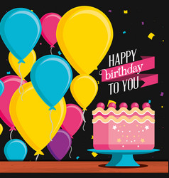 birthday cake with decoration of balloons helium vector image