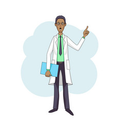 Black doctor talking in white coat with folder vector