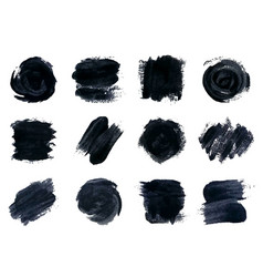 Black paint ink brush strokes vector